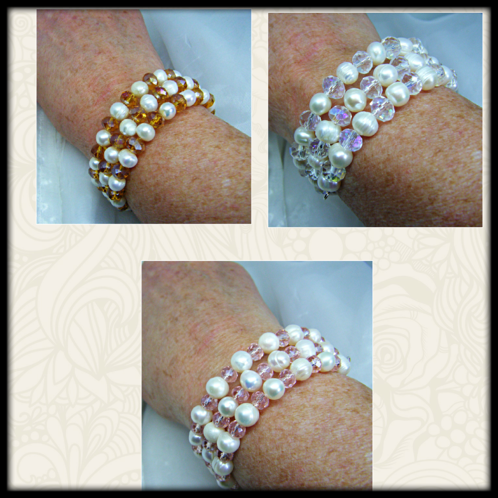 White Freshwater Pearl & Faceted Crystal Bead Memory Wire Bracelet