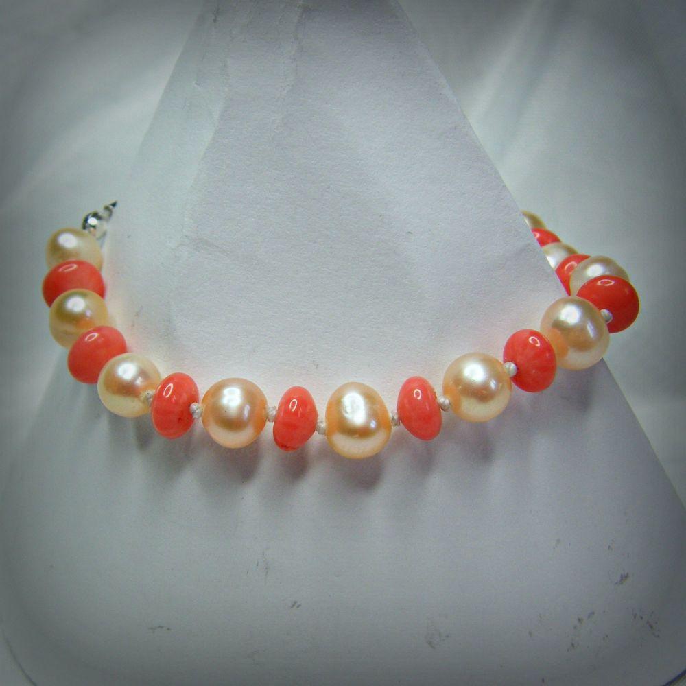 Pink Coral & Freshwater Pearl Bracelet