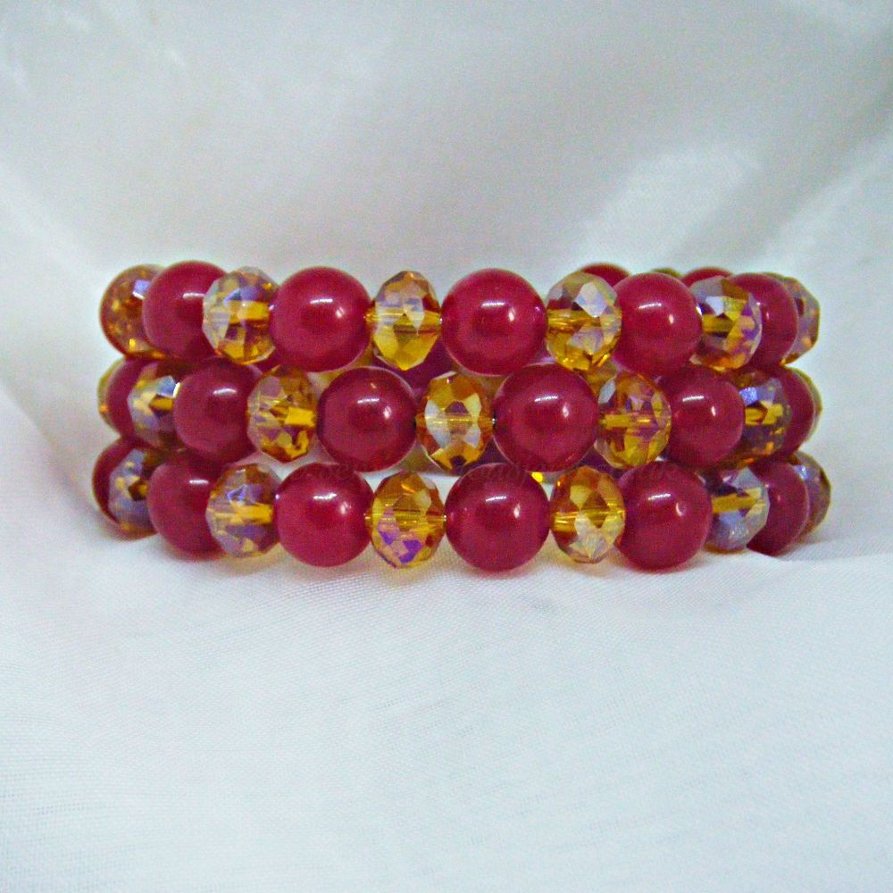 Deep Red Quartzite & Golden Crystal Wrap Around Bracelet