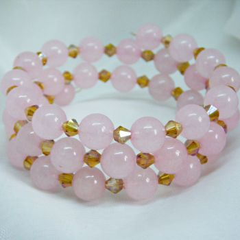 Rose Quartz & Gold Bicone Wrap Around Bracelet