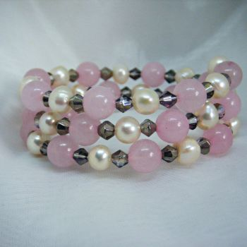 Rose Quartz & Pearl Wrap Around Bracelet