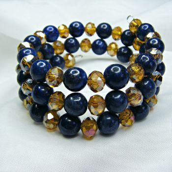 Lapis Lazuli & Golden Crystal Wrap Around Bracelet