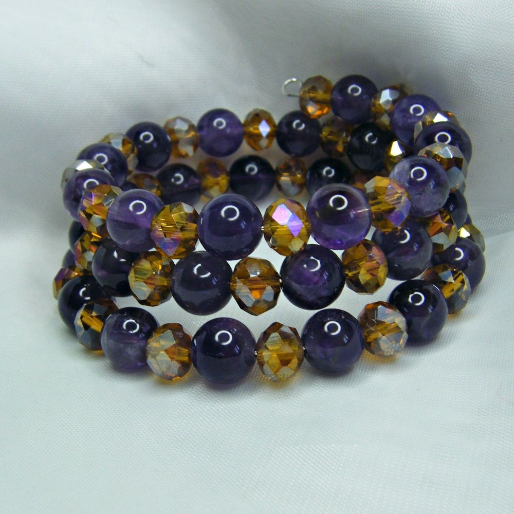 Amethyst & Golden Beaded Wrap Around Bracelet