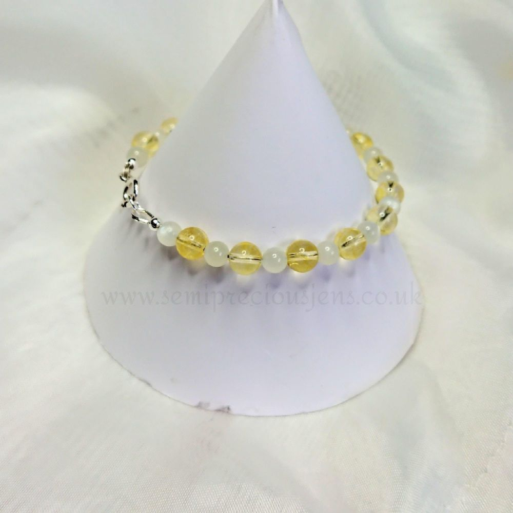 Citrine & Moonstone Wrap Around Bracelet