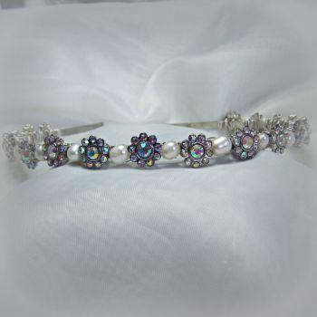 "Freshwater Pearl & ""Diamante"" Flower Tiara"
