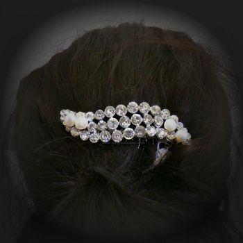 Diamante Wave & Pearl Hair Comb