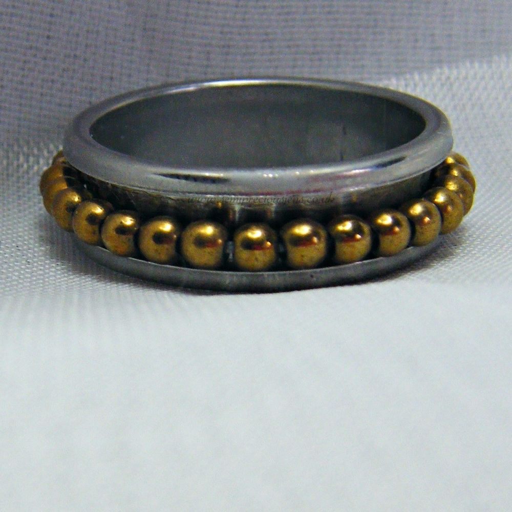 Gold Hematite Spinner Ring