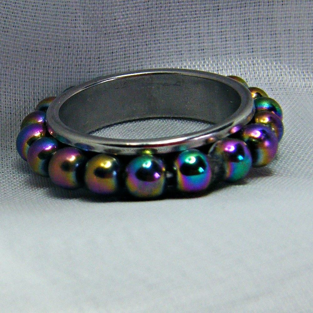 Rainbow Hematite Spinner Ring