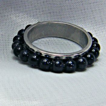 Blue Goldstone Spinner Ring