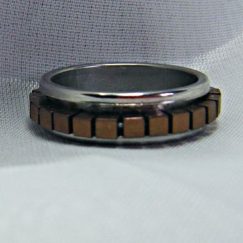 Bronze Hematite Spinner Ring