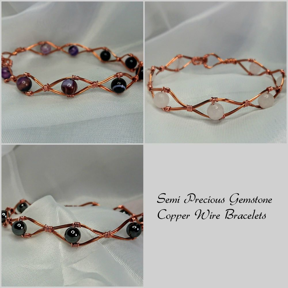 Copper Wire Bracelet with Semi Precious Gemstones