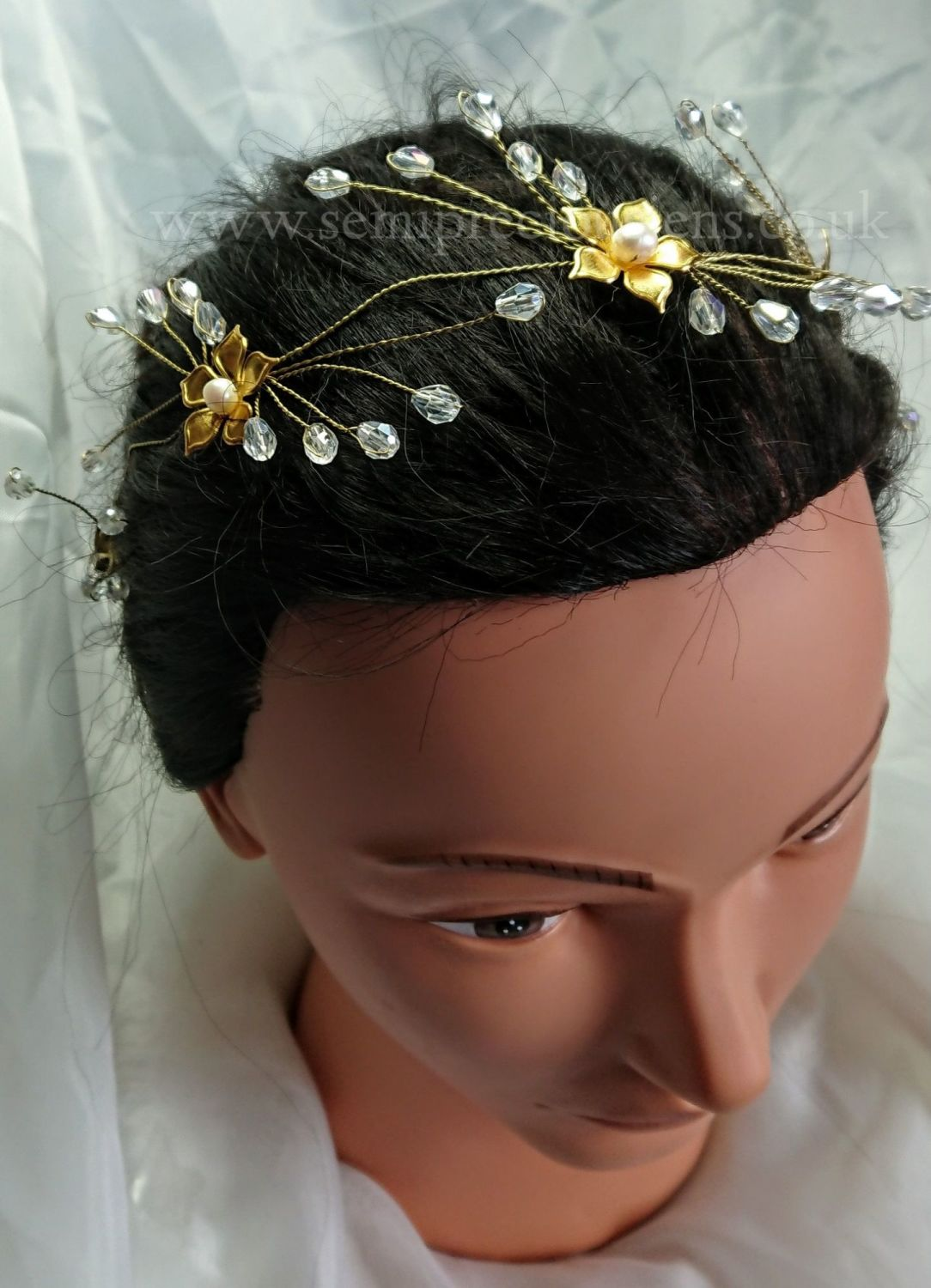 Gold Flower & Pearl Hair Vine