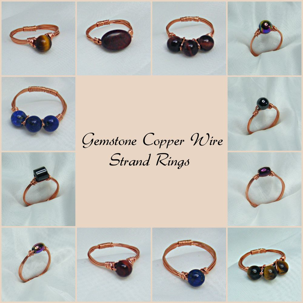 Copper Wire Strand Gemstone Rings