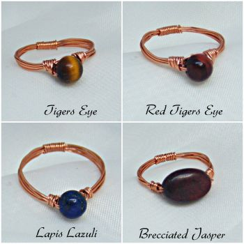 Gemstone Copper Wire Ring