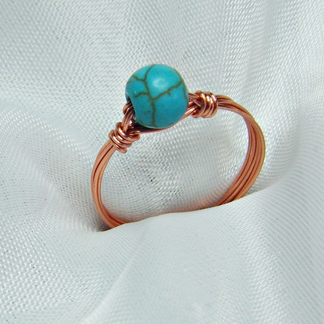 Copper Wire Strand Gemstone Rings 2