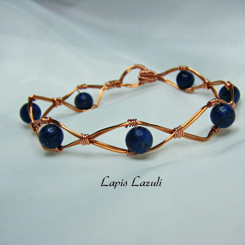Copper Wire Bracelets with Semi Precious Gemstones 2