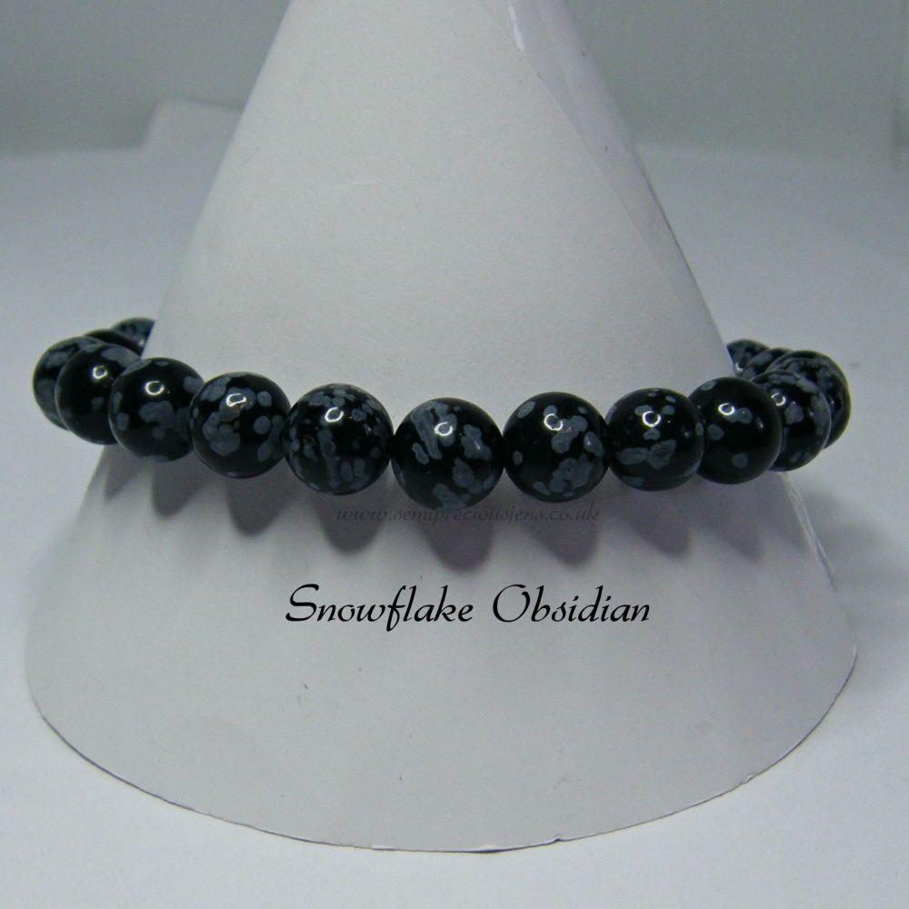 Snowflake Obsidian Stretch Elastic Braceletr