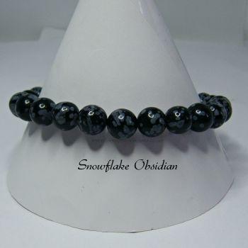 Snowflake Obsidian Stretch Elastic Bracelet
