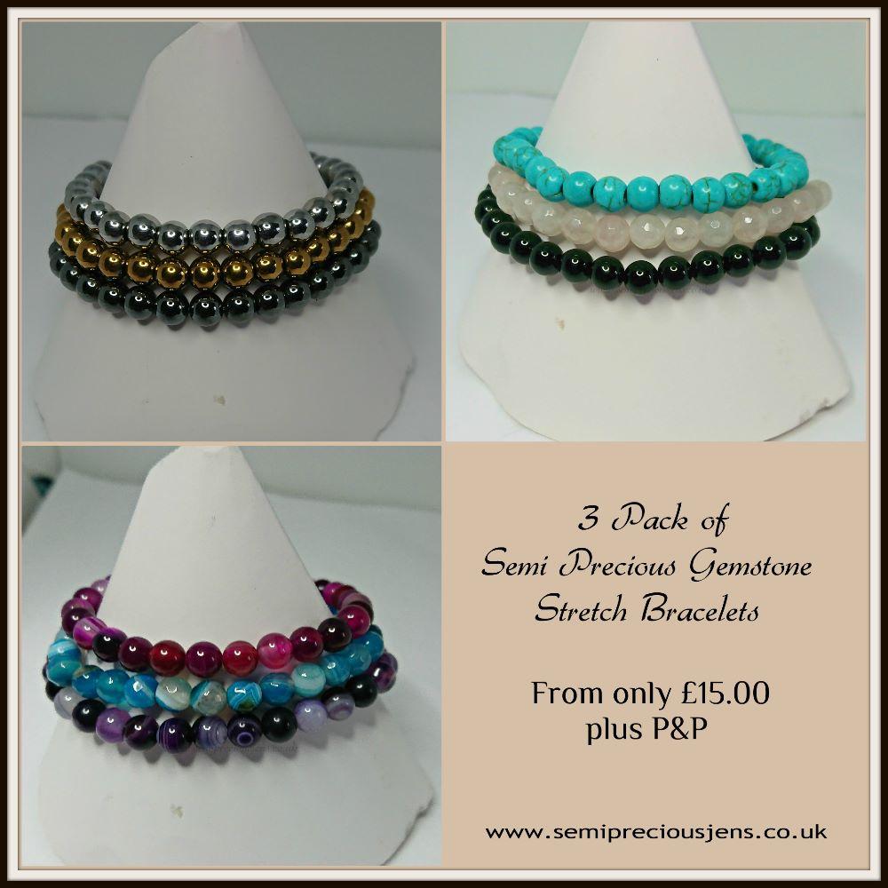 Pack of 3 Semi Precious Gemstone Stretch Bracelets