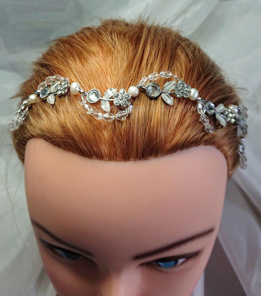 Diamante Flower & Pearl Sparkle Hair Vine