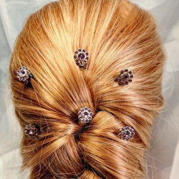 "6 Pack of ""Diamante"" Flower Hair Pins"
