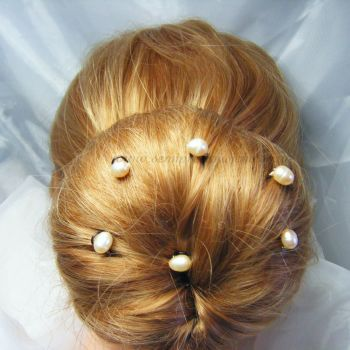 6 Pack of Freshwater Pearl Hair Pins