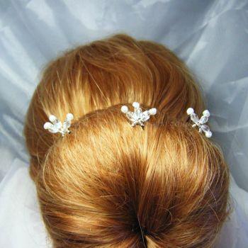 Pearl & Sparkle Hair Pins x 3