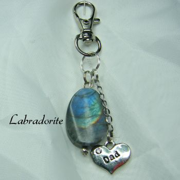 Labradorite Keyring with Dad Charm
