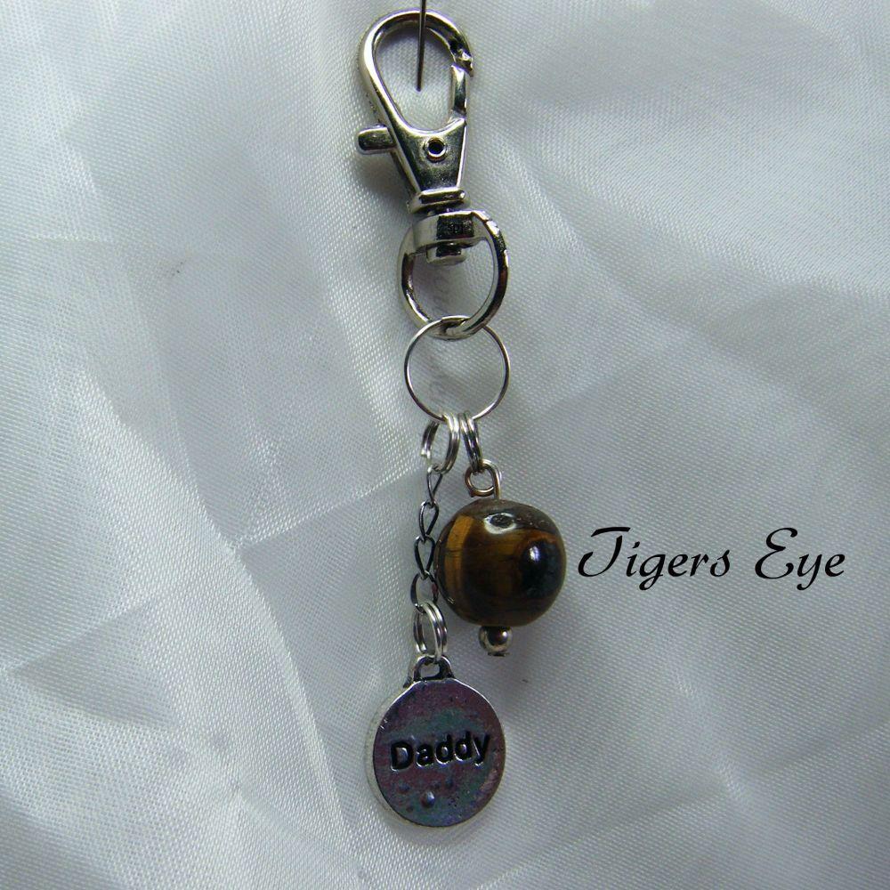 Tigers Eye Gemstone Keyring