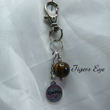 Tigers Eye Gemstone Keyring
