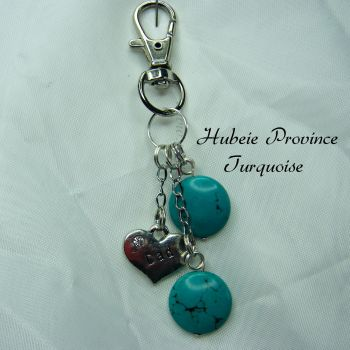 Hubei Province Turquoise Keyring with Dad Charm