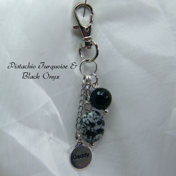 Pistachio Turquoise &  Black Onyx Keyring with Daddy Charm