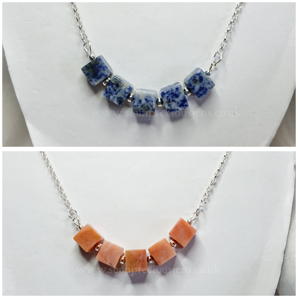 Cubed Gemstone Necklaces
