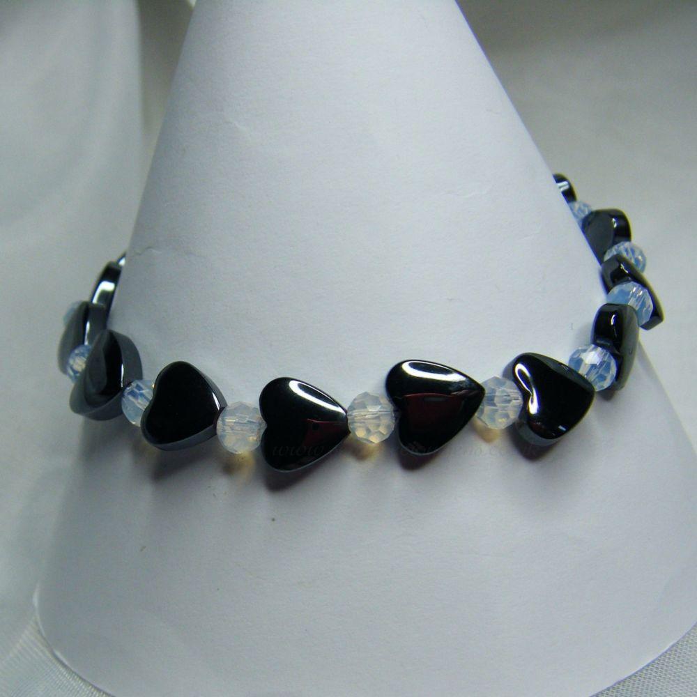 Hematite Heart/Opalite Stretch Bracelet
