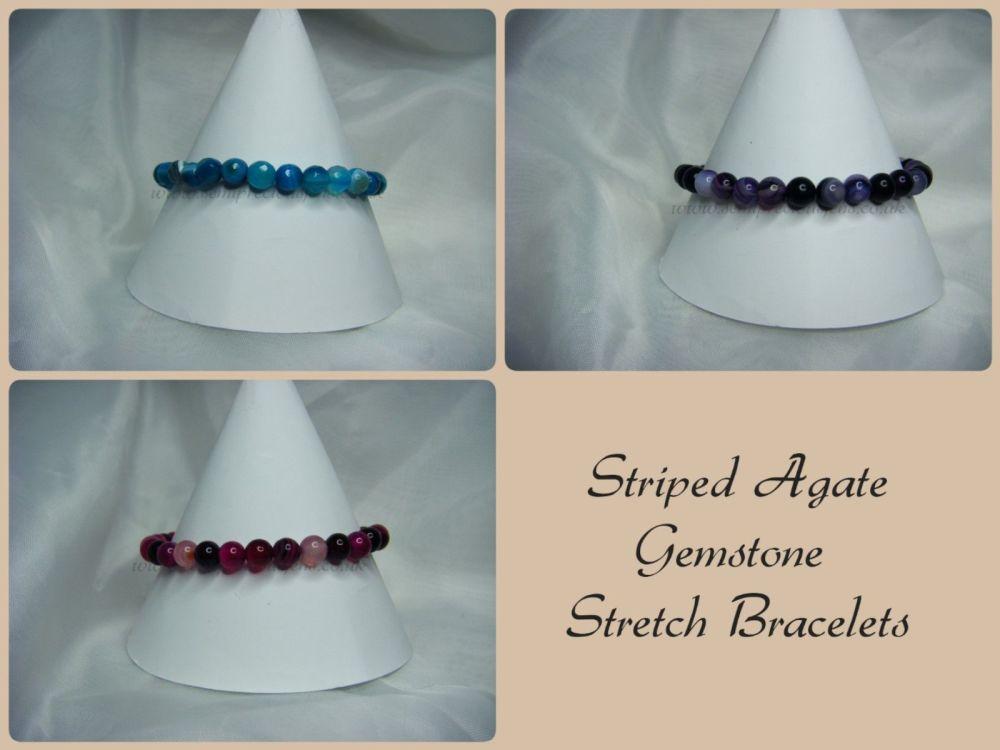 Striped Agate Stretch Bracelets