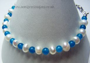White Pearl and Mid Royal Blue Quartzite Bracelet
