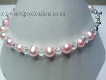 Pink Pearls and Glass Bicones Bracelet