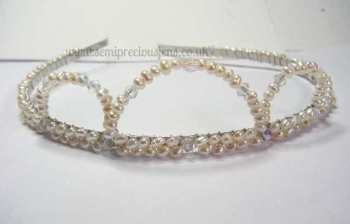 White Pearls with Clear Bicones Tiara