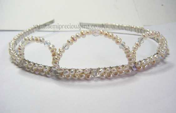 White Pearls with Clear Bicones