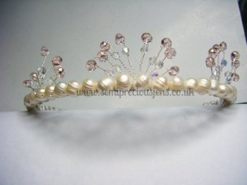 White Freshwater Pearls with Pink and Clear Bicone Tiara