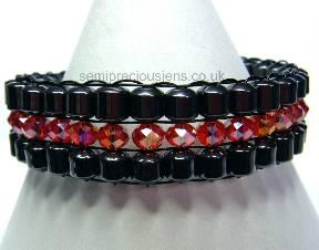 Hematite & Red AB Bicone Bracelet