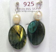 LB-WP-B  Labradorite & White Pearl Earrings