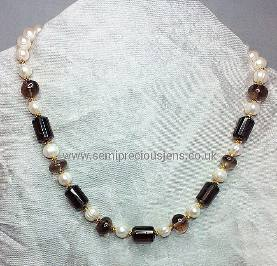 Smokey Quartz and White Freshwater Pearl Necklace