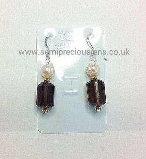 Smokey Quartz and White Freshwater Pearl Earrings