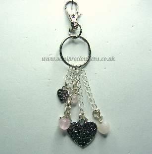 RQ-H-BC  Rose Quartz & Tibetan Silver Charms Keyring/Bag Charm