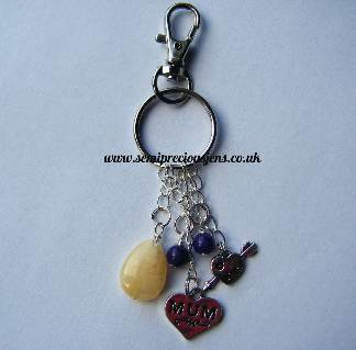 HQ-AQ-M-BC  Honey Quartz & Amethyst Quartzite Key Ring/Bag Charm