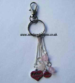 RQ-M-BC  Rose Quartz Mum Keyring/Bag Charm