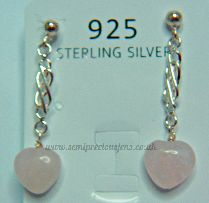 Rose Quartz Hearts Earrings