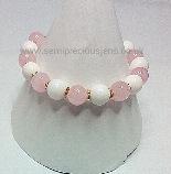 RQ-WJ-B  Rose Quartz & White Jade Bracelet