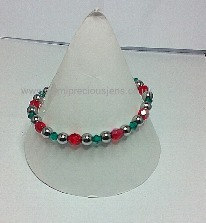 Silver Hematite, Green & Red Bead Stretch Bracelet